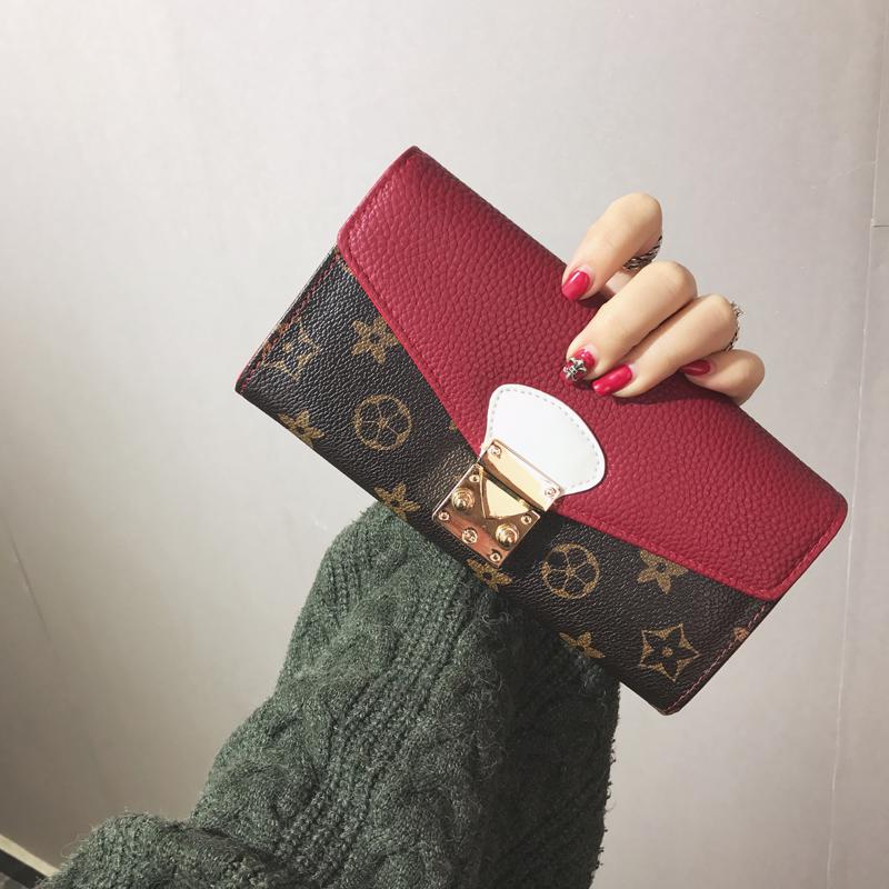 2017新款韩版钱包女长款 复古印花钱夹撞色百搭锁扣手机包卡包潮3元优惠券