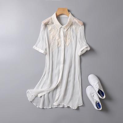 真丝衬衫女韩范 欧洲站个性显瘦百搭桑蚕丝刺绣雷丝上衣女T恤短袖