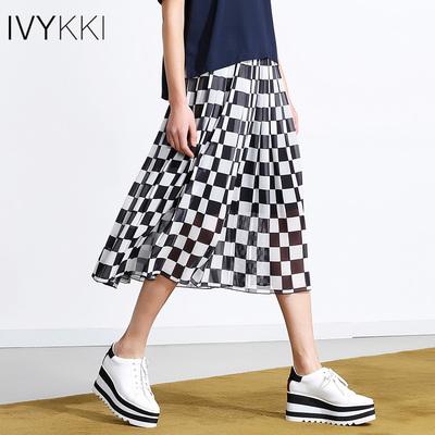 IVYKKI艾维2018夏季新款格子半身裙女松紧腰雪纺拼接百褶裙中长裙