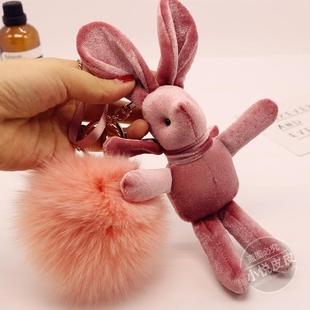 许愿兔子汽车钥匙扣包包挂件女创意小礼品可爱狐狸毛球永生花配件