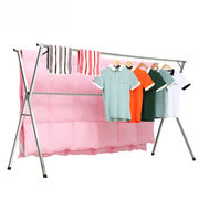 Wheat red stainless steel drying rack floor-standing folding balcony indoor home telescopic simple drying clothes rail rack