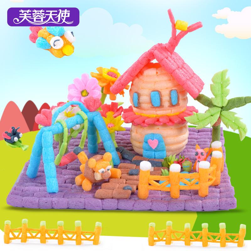 芙蓉天使魔法DIY玉米粒积木儿童创意益智幼儿园亲子手工制作玩具