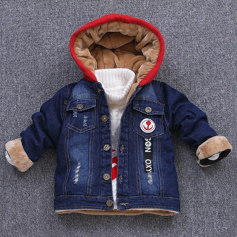 儿童加绒牛仔外套2018韩版男童冬装新款宝宝连帽休闲女童加厚棉衣