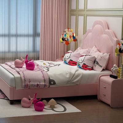 美式布艺软床双人床 简约现代青少年儿童床1.5米公主床女孩布艺床
