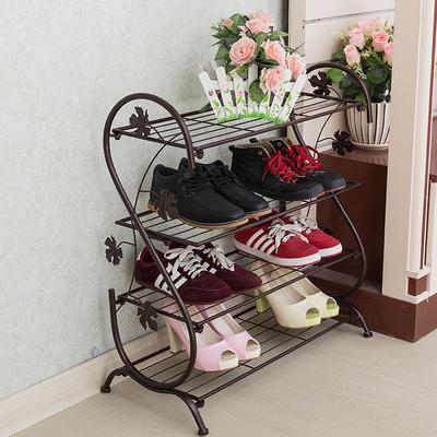 欧式铁艺鞋架多层实木简易客厅不锈钢收纳鞋柜铁架子经济型置物架网上商城