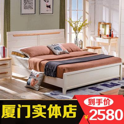 红橡木床北欧简约实木床1.5m双人床1.8米白色床储物床主卧结婚床