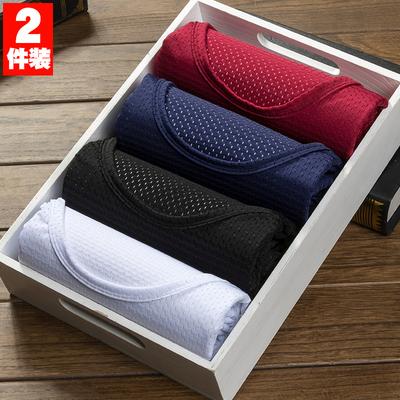 2件装冰丝网眼短袖t恤男镂空透气网状速干运动大码男半袖夏季薄款