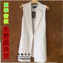 Spring and Summer 2019 New Korean Edition Long-style waistcoat, white waistcoat, jacket, cotton and hemp jacket, waistcoat, waistcoat, waistcoat, waistcoat, waistcoat, waistcoat, waistcoat and waistcoat