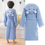 Children's Bathrobe Pure Cotton Towel Material Water Absorption Swimming Long-style Thickening Boys and Girls'Baby Cartoon Fast Dry Bathrobe in Autumn and Winter