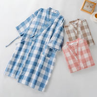 Cotton gauze bathrobe absorbent yukata men and women kimono spring and summer long beauty salon Japanese style steamed thin nightgown pajamas