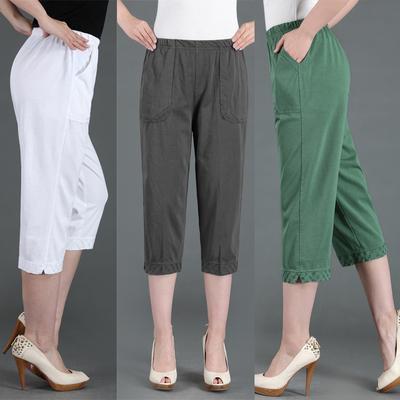 夏款中老年高腰弹力运动休闲裤宽松直筒女裤松紧腰纯棉针织七分裤