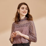珂莱蒂尔 Genuine 2019 Autumn New Lace Collar Print Slim Shirt Chiffon Shirt K1AHF235000