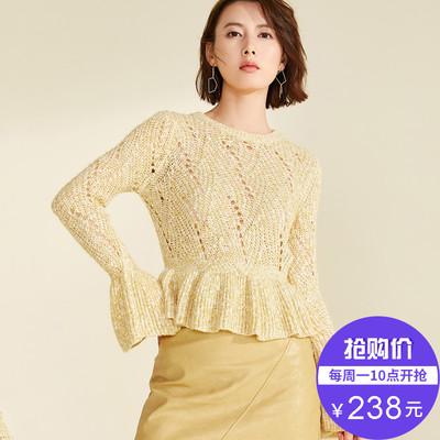 【新品价238元】2019春新品喇叭袖镂空短款毛针织衫打底衫上衣女