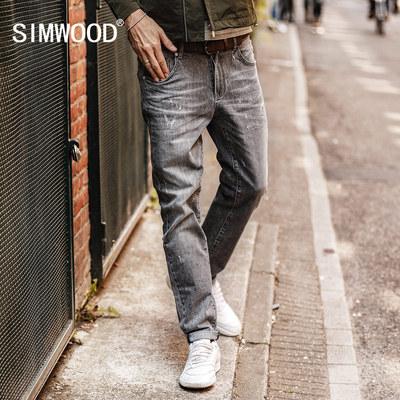 Simwood简木男装秋季新款欧美微弹刮烂磨破水洗修身小脚牛仔裤男
