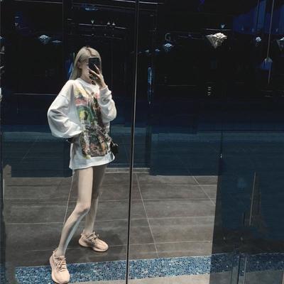 張智研 女裝2019新款潮夏白色寬松長袖t恤薄韓版圓領印花顯瘦體恤