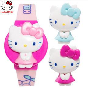正品凯蒂猫儿童电子表 女孩手表可换盖小学生卡通换面电子表礼物