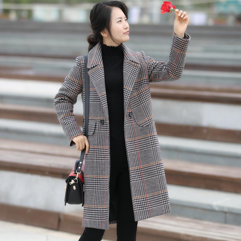 2018千鸟格子大衣毛呢外套女中长款新款韩版秋冬显瘦呢子大衣外套