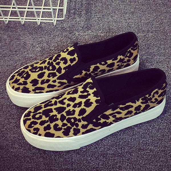 豹纹松糕鞋