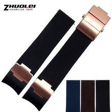 卓磊硅胶表带代用雅典潜水航海系列弧口橡胶表带22MM折叠扣