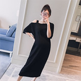 Pregnant women's suit 2019 summer wear new Korean version suspender with shoulder-open fashion loose pregnant women's hot mother short sleeve long T dress