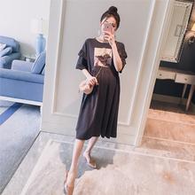 孕妇装2019夏装新款韩版高清印花木耳边显瘦时尚孕妇短袖连衣裙子