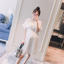 Pregnant women's dress 2019 summer dress new Korean version hollow lotus leaf Crochet fashion loose pregnant women's hot mother dress