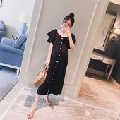 孕妇连衣裙子 孕妇装 方领双层袖 2018夏装 宽松时尚 开衫 长款 韩版 新款