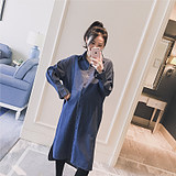 Pregnant dress 2019 autumn dress new lapel loose casual fashion pregnant women medium long denim shirt dress