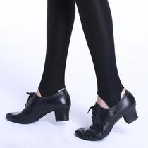 热卖牛皮女软底黑色健美操舞蹈高跟步态训练舍宾鞋促销