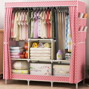 简易衣柜挂衣架布衣柜子特价包邮双人大号折叠衣橱加固钢架布艺柜