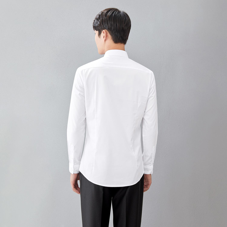 HLA/海澜之家衬衫2019方领修身商务丝光长袖白衬衫男