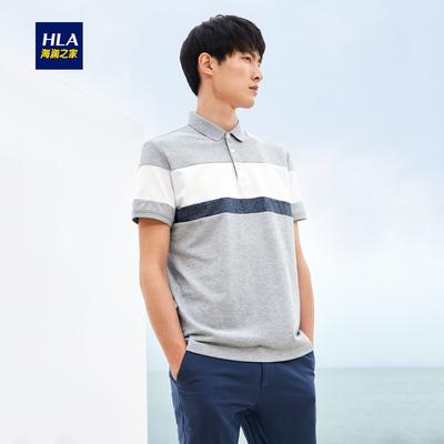HLA/海澜之家条纹镶拼短袖T恤2018夏季新品休闲短袖polo衫男