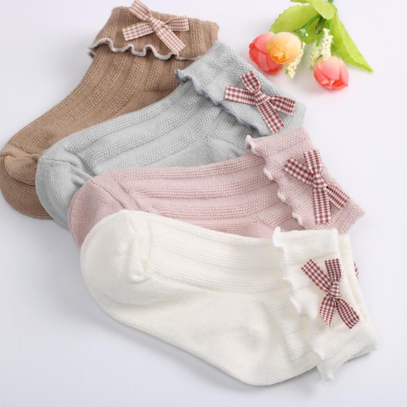 女童袜子春秋纯棉儿童短袜木耳边蝴蝶结公主袜少女学生宝宝松口袜