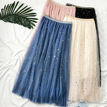 Autumn and winter super fairy star sequins mesh skirt female new Korean version of the high waist was thin wild big swing skirt A word skirt