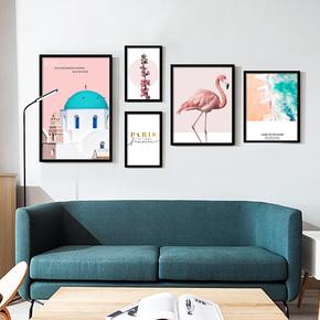 实木挂画客厅壁画北欧风格装饰画沙发背景墙卧室餐厅办公室D