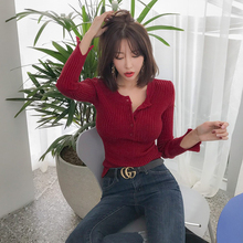 Red sweater female 2018 new v-neck tight shirt Slim long-sleeved sweater autumn and winter thin knit bottoming shirt