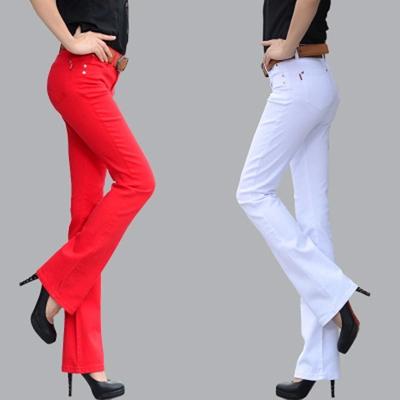 天天特价秋季牛仔女裤弹力彩色休闲微喇裤显瘦大码喇叭裤韩版长裤