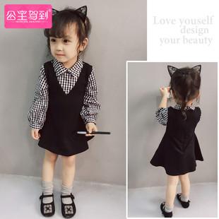春秋装韩版女童裙子儿童公主裙1-3岁婴儿小童女宝宝假两件连衣裙