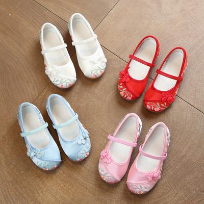 老北京布鞋儿童绣花鞋手工女童鞋一脚蹬帆布鞋牛筋底软底小白鞋潮