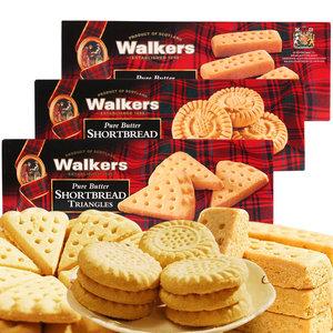 英国进口零食Walkers沃尔克斯黄油饼曲奇饼干3盒组合指形休闲小吃