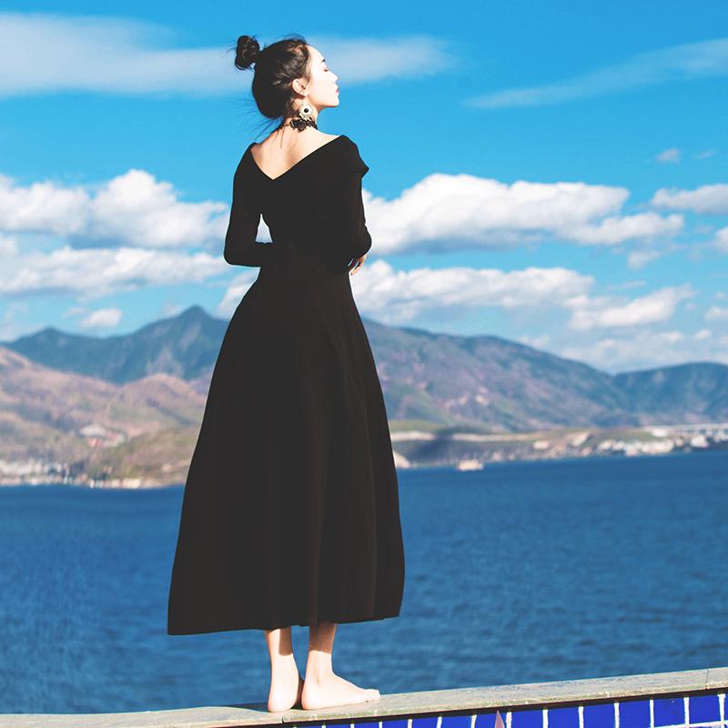 Hepburn wind small black skirt thickening dress company annual meeting dinner dress female long skirt winter match