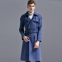 新款修身呢子大衣男士帅气加绒中长款外套新款2017冬季风衣男韩版