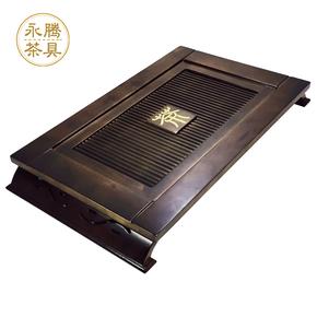 整块实木茶盘家用功夫大号木制中式长方形排水抽屉式茶具套装木质