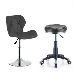 小圆凳高脚椅垫椅吧台椅室内木前台美容凳子带轮液压杆高脚凳