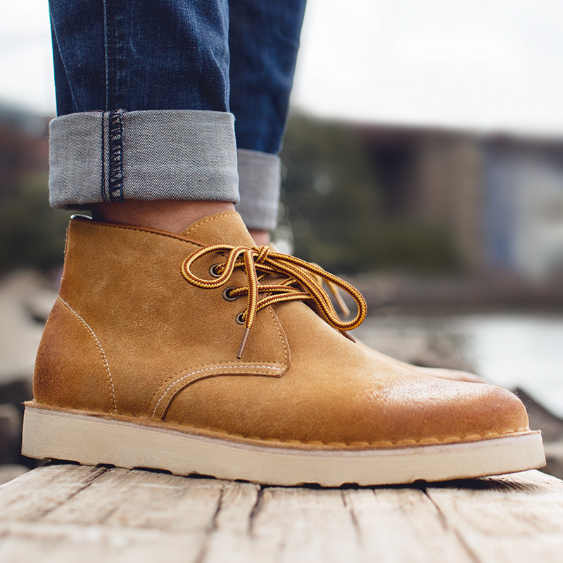 反绒皮工装靴