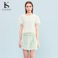 卡斯比亚秋季圆领蕾丝网纱拼接短款雪纺衫上衣