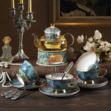 Dream blue pastoral wind English afternoon tea ceramic glass flower tea set candle heated teapot belt filter