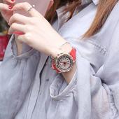 女士手表镶钻韩版简约水钻时来运转休闲学生石英表真皮时装腕表女