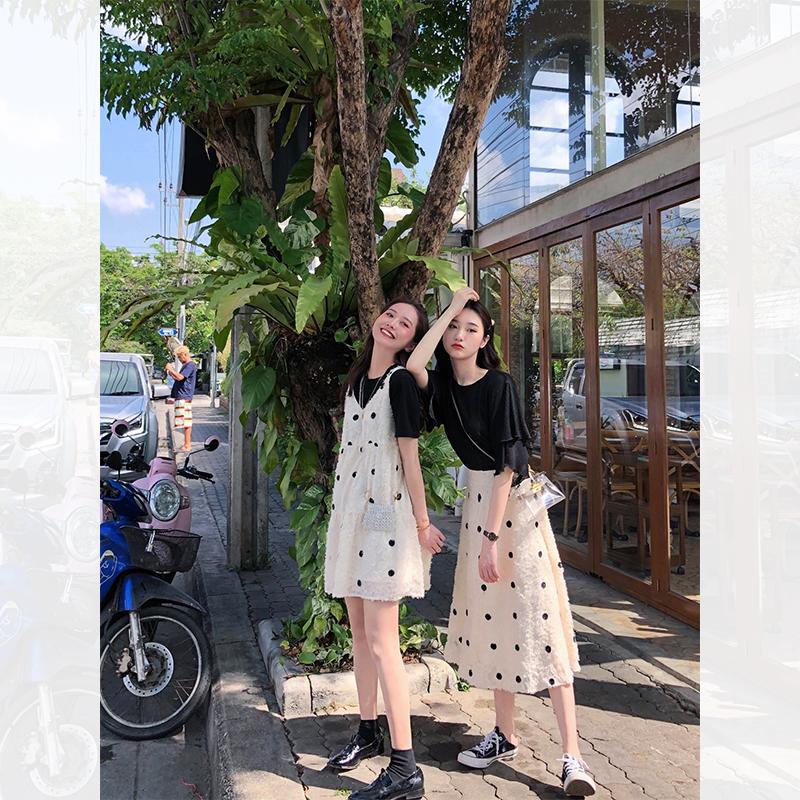 肉完 ROUWANBABY190308/190309 2019春季新款波点吊带裙半身裙