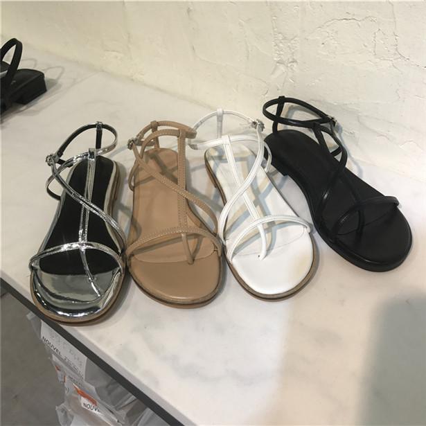 韩国东大门代购女鞋19夏季nouvel学院风纯色可爱扣带夹趾平底凉鞋